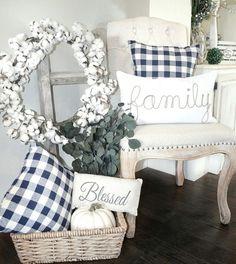 Buffalo check pillows. Fall Farmhouse decor