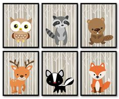 Woodland Animals Nursery Art Print Mix and Match Owl Racoon Beaver Deer Skunk Fox Trees Wild Forest Kid Room Wall Decor This is a mix and match listing and the price is for 1 print of your choice available by email or printed in your choice of 4 x 6, 5 x 7, 8 x 8, 8 x 10, 10 x 10* or