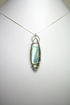 Illuminating Labradorite Wire Wrapped Pendant, Handmade with Sterling Silver, includes Sterling Silver Necklace!!!