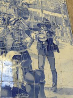 Portuguese guitar in the train station, Porto Portugal Portuguese Culture, Portuguese Tiles, Portugal, Picture Tiles, Porto City, Tile Panels, Modern English, Blue Pottery, Iron Work