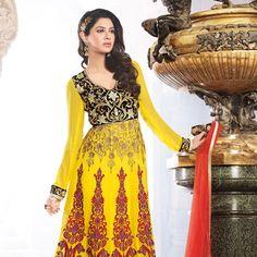 Yellow Pure Georgette Churidar Kameez