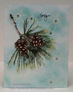 Stampin' Up! ... handmade Christmas card ... pin bough with cones touched with a dusing of white ... love the emboss resist snowflakes in the background ... white with soft blue sponging ... gorgeous!
