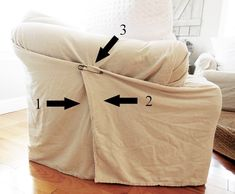 How To Use Canvas Drop Cloths as Slip Covers (No Sewing Required!) - How To Use Canvas Drop Cloths as Slip Covers (No Sewing Required! No Sew Slipcover, Drop Cloth Slipcover, Sectional Slipcover, Drop Cloth Curtains, Slipcovers For Chairs, Sectional Covers, Furniture Slipcovers, Diy Sofa Cover, Chair Covers