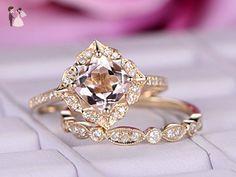 Cushion Morganite Engagement Ring Set Pave Diamond 14K Yellow Gold 7mm - Wedding and engagement rings (*Amazon Partner-Link)