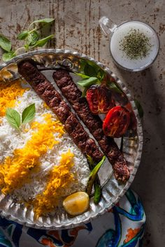 Kebab koobideh & Doogh – Ground beef & sour yogurt drink Traditional persian food Iranian food Traditional food from Iran food from recipes Iranian Cuisine, Iranian Dishes, Taiwanese Cuisine, Iran Food, Arabic Food, Arabic Dessert, Arabic Sweets, Eastern Cuisine, Middle Eastern Recipes