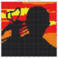 Daryl Dixon knitting, cross stitch, crochet charts. Several variations. Free PDF downloads. Nerd knits. The Walking Dead. Intarsia. Perler. Hama bead