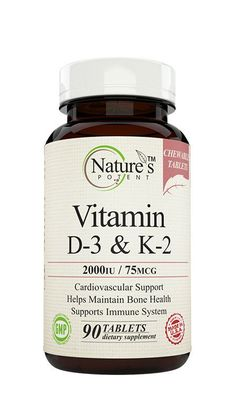 Vitamin D-3 & K-2 Nature's Potent Vitamin D-3 & K-2 is a supplement that will help support the health of different systems in your body. Its main benefits are: - Overall cardiovascular support - Immun