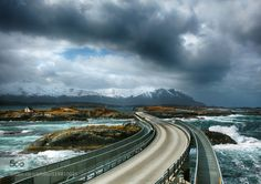 Atlantic Road by Martynas  Atlantic Ocean Road Dramatic Landscape Mountains Norway Road Road Trip Scandinavia Storm Travel Most
