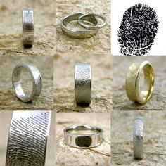 Order Your Pair of Personalized Custom Finger Print Rings or Wedding Bands or Thumb Print Jewelry Here. $400.00, via Etsy.