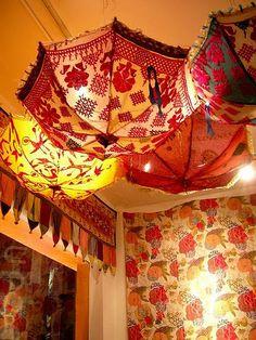 Gypsy Decor | Bazaar Style . Love the umbrellas on the ceiling....how bohemian ...