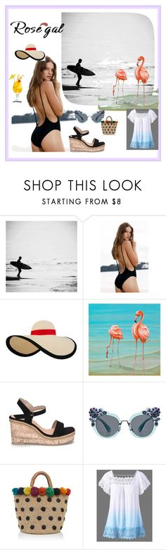 """Monokini  Hingh"" by fatimazbanic ❤ liked on Polyvore featuring Eugenia Kim, Miu Miu and Aranáz"