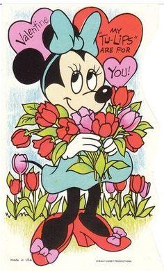 Vintage Valentine Card Minnie Mouse and Flowers Walt Disney Die Cut . Valentines Movies, Disney Valentines, My Funny Valentine, Vintage Valentine Cards, Vintage Greeting Cards, Vintage Holiday, Valentine Crafts, Valentine Day Cards, Happy Valentines Day