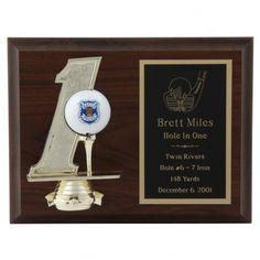 Hole-in-One Commemorative Golf Plaque