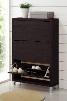 Wholesale Interiors Baxton Studio Simms Dark Brown Modern Shoe Cabinet