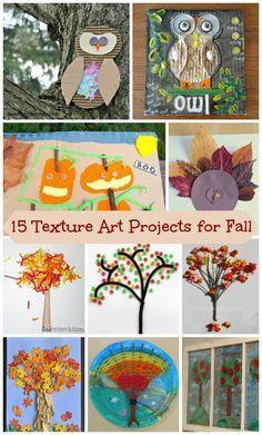 Fall themed Textured Art for Kids - owls, turkeys, pumpkin and autumn tree layered art projects!