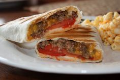 Grilled Cheeseburger Wraps - Skinny Girl recipe...I'd use ground turkey...