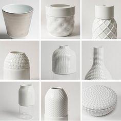 white vases.