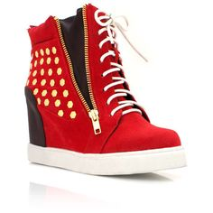 studded wedge sneakers ($56) ❤ liked on Polyvore