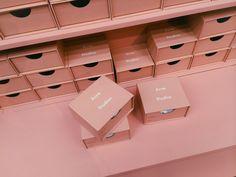 A Visual Alphabet of Acne Studios Fashion Packaging, Brand Packaging, Box Packaging, Fashion Branding, Packaging Design, Branding Design, Beauty Packaging, Boutique Interior, Perfect Pink