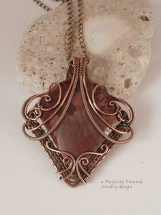 Wire Wrapped  Mimbres Valley Apache Sage Rhyolite Pendant Necklace, Handmade Wire Weave Jewelry, Antiqued Copper Pendant