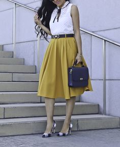Fabulous Sleeveless Woven Tie-Neck White Top With Yellow Midi Skirt, Gingham Pumps And Handbag Modest Outfits, Classy Outfits, Modest Fashion, Skirt Fashion, Fashion Outfits, Skirt Outfits, Affordable Work Clothes, Mustard Skirt, Stylish Petite