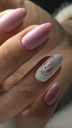 Over 50 beautiful nail design ideas for feather nails - page 74 of 99 - nail-de . , Over 50 beautiful nail design ideas for feather nails - page 74 of 99 - nail-de . Spring Nails, Summer Nails, Cute Nails, Pretty Nails, Oval Acrylic Nails, Nails Metallic, Feather Nail Art, Feather Nail Designs, Nail Art Rose