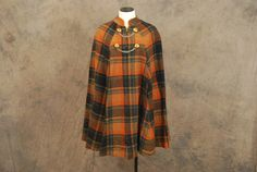 Multicolor Plaid vintage 60s Cape 1960s Wool by jessamity, @ Etsy $85