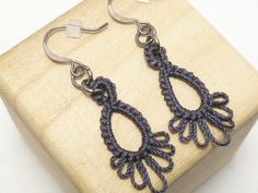 Shuttle tatted Earrings or clip-on -Frilly Drips MTO many color options dangling simple casual jewelry - Tatting Ideen 2019 Tatting Earrings, Tatting Jewelry, Lace Earrings, Dangle Earrings, Crochet Earrings, Needle Tatting, Tatting Lace, Tatting Patterns, Clips