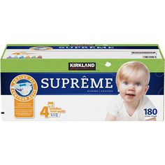 Kirkland Signature Supreme Diapers Size 4 For Babies Weighing Secondary Fasteners Super Aborbent All-Around Stretch Soft, Breathable Cover Happy Baby, Happy Kids, Diaper Genie Refill, Child Care Prices, Tommee Tippee Bottles, Huggies Little Movers, Diaper Brands, Free Diapers, Diaper Sizes