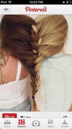Brunet and blonde braid