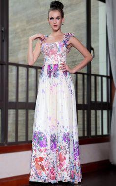 花飾りの肩紐! 高級プロムロングドレス♪ - ロングドレス・パーティードレスはGN 演奏会や結婚式に大活躍!