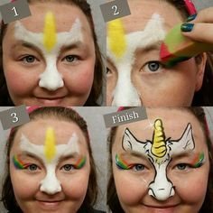 When you think about face painting designs, you probably think about simple kids face painting designs. Many people do not realize that face painting designs go Face Painting Unicorn, Girl Face Painting, Face Painting Tips, Face Painting Tutorials, Unicorn Face, Face Painting Designs, Painting For Kids, Paint Designs, Painting Templates