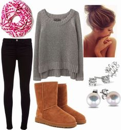 Perfect outfits for fall and cute hair bun fashion, love this!