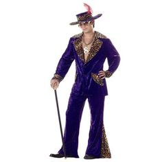 Pimpin' in purple! This Pimp Purple Crushed Velvet Adult Costume comes with a crushed velvet jacket with leopard-print accents on the collar, pockets and cuffs. Flared pants and pimp hat are also incl