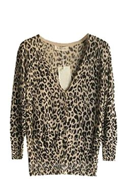 Leopard Slim Waist V-Neck 3/4 Sleeve Conditioning Knit Cardigan GWF-6295 at Amazon Women's Clothing store:
