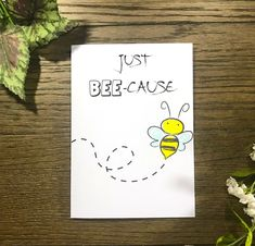 Keep is simple with this Handmade Thinking of You Handmade greeting card, filled with cute bees and funny puns. This card is perfect for anyone to let them know you are thinking of them! Each card is individually created and unique! Homemade Greeting Cards, Funny Greeting Cards, Homemade Cards, Homemade Envelopes, Handmade Greetings, Greeting Cards Handmade, Easy Handmade Cards, Handmade Toys, Hand Drawn Cards