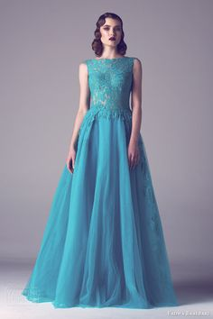 fadwa baalbaki spring 2015 couture sleeveless lace bodice blue green turquoise aquamarine wedding dress