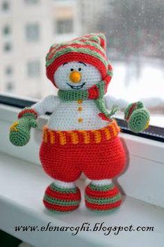 Muñeco de nieve de ganchillo: