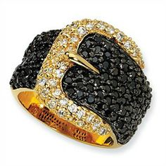 """Gold plated """"Vermeil"""" Sterling Silver Black White CZ Buckle Ring"""