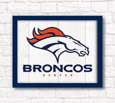 "Denver Broncos rustic wall hanging 16""x20"" handmade sign - Broncos wall sign for Boys room or Man cave decor - Denver sports fan"