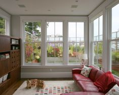 """height of the windows in the sunroom""  ""Large single mullion window sunroom""  ""sunroom w/ double hung""  ""finished sunroom/ low profile couch""  ""Sunroom idea...Sunroom family room...sunroom ideas...sunroom windows...sunroom as playroom...sunroom playroom...sunroom / windows"""
