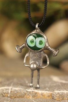 Tiny bogy Alien necklace funny Gift for scientist Boyfriend pendant Men science Birthday Spaceman Charm Robot jewelry Bioshock NASA Sci-Fi Cute Alien, Polymer Clay Beads, Unusual Gifts, Funny Gifts, Metal Art, Fused Glass, Jewelry Art, Pendant, Boyfriend