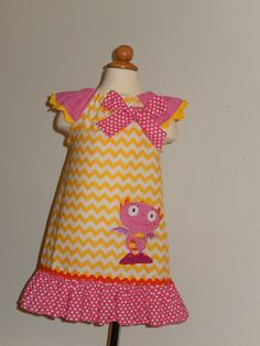 Henry HuggleMonster Flutter Sleeves Dress by Just4Princess on Etsy, $34.00 Change sleeve with red fabric & red fabric for the bottom