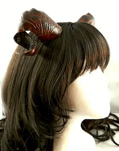 SALE Brown and Black Leather Demon Goat Satyr Ram Horns by noxhyde, $44.99
