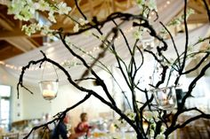 Create a dramatic look without spending a fortune...I often use tall branch centerpieces to add height, and incorporate gorgeous floral centerpieces on other tables. Who says you can't have a 'WOW' wedding on a budget :)