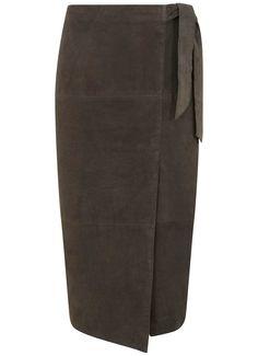 Khaki Suede Wrap Midi Skirt