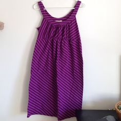 Maternity Stripes Dress Colors are light and dark purple stripes. Stretchy elastic band around chest. Cozy. Worn few times - no holes or stains. 100% cotton. Old Navy Dresses Midi