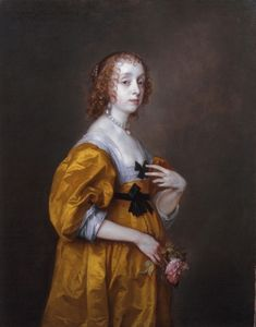 Anthony van Dyck: Mary Villiers, Lady Herbert of Shurland, c.1636 Painted at request of King Charles I of England, Lady Mary Viillers (1622-1685),daughter of George Villiers, 1st Duke of Buckingham, raised in the royal household after her father was assassinated in 1628. At 14, when this portrait was painted, already widow of 15-old Charles, Lord Herbert of Shurland,
