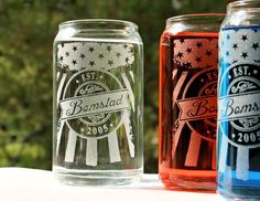 Soda or Beer Can Drinking Glasses,16oz Patriotic American Flag w/ Personalized Name logo Est Date,Wedding Gift,Couples Gift,Hostess Gift