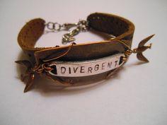 Fanlocked Handmade Book Inspired Tris Divergent Birds Leather Bracelet by AllThingsFanlocked on Etsy